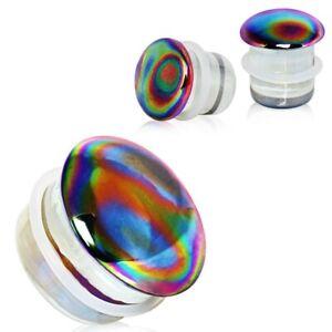 Aurora Glass Single Flare Tunnel Saddle Plug 8mm. PLP014-0