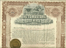1906 TOMBSTONE CONSOLIDATED MINES COMPANY LTD ARIZONA STOCK CERTIFICATE