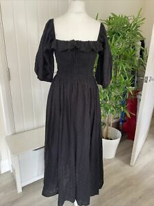 SLBSTYLE Shirred Top Designer Puff Sleeve Dress Size S/M 8-12