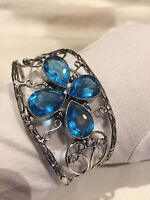 Vintage Blue Volcanic Glass Low Content Silver 800 Nickle Silver Cuff Bracelet