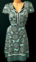 Chico's black mandala print back zipper spandex stretch cap sleeve dress 2 , L