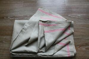 altes Rolltuch,antik Mangeltuch Leinen Mangelcloth roter Streifen,3,35 m x0,90 m