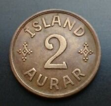 Iceland 2 Aurar 1942. KM#6.2. Two Cents Pennies coin. Island. Bronze Christian X