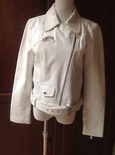 K-Yen White Leather Belted Women's Jacket Size Medium