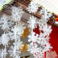 New 15 Pcs Christmas White Snow Flakes Xmas Tree Shop Window Home Decorations