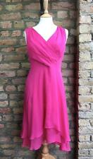 L K Bennett UK 10 Bright Pink Layered 1930's Vintage Look Tea Dress 100% Silk
