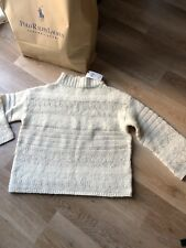 OVERSIZED White Sweater BY RALPH LAUREN Size Small UK 8  Silk And Wool RRP £299