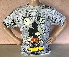 Vtg 80s MICKEY MOUSE Comic book T-Shirt VELVA SHEEN All Over Print DISNEY Sz XL