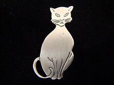 BEAU STERLING CAT PIN BROOCH - Sterling Silver - Must See!!!