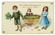 Happy New Year-CHILDREN W/ BASKET GOLD COINS & CLOVERS-German Postcard
