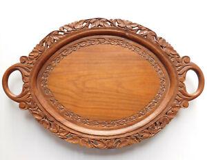"Carved wooden serving tray oval Indian leaf design 18""x 12"" oval 2 handles wood"