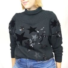 Vintage Qui Black Star Turtle Neck Chunky Sweater Size Oversized Small