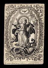 santino incisione 1600 GESU' BAMBINO VINCE SATANA E LA MORTE-MEMENTO MORI