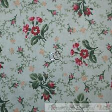 BonEful Fabric Cotton Quilt Mint Green Leaf Pink Flower Country Cottage 99 SCRAP