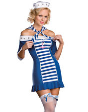 Sexy Navy Sailor Girl Ship Shape Sweetie Nautical Halloween Costume 5Pc Set M