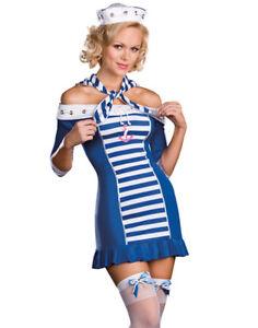 Sexy Navy Sailor Girl Ship Shape Sweetie Nautical Halloween Costume 5Pc Set M