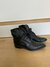 Vintage 80s Leather Booties 5.5 Shoes 5 1/2 Boots Black 1980s 1990s 90s