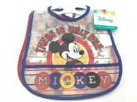 Disney Mickey Mouse 2 Pack Crumb Catcher Bibs Printed Frosted Water Proof Peva