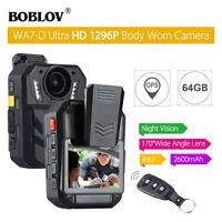 """BOBLOV WA7-D HD 1296P 64GB 2.0"""" Body Worn Camera Recorder GPS 170°FOV for Police"""