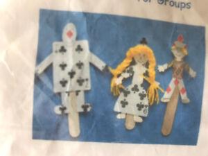 Childrens Craft Kit - Playing card Stick Puppets - Kids art set creative play