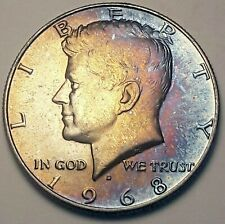 1968-D USA KENNEDY HALF DOLLAR SILVER FLAWLESS TONED BU COLOR CHOICE UNC (DR)