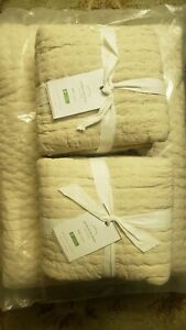 Pottery Barn Handcrafted Pick-Stitch Cotton/Linen Quilt Set