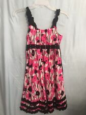 Justice Dress Black Pink Floral Girls  Size 12 Sleeveless Tulle Lined
