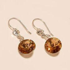 Light Weight Citrine Earrings Fine Women Sterling Silver Jewelry Mother's Gifts