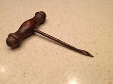 Vintage Corkscrew Wood Handle Opener Ice Pick Auger Drill Bit Nice Wood Handle