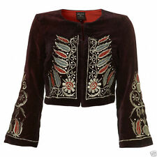 KATE MOSS TOPSHOP EMBROIDERED STEAMPUNK GRUNGE MILITARY PURPLE JACKET VTG 10 38