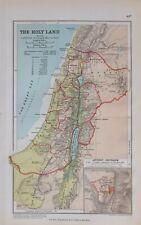 1889 MAP HOLY LAND ANCIENT JERUSALEM SAMARIA JUDAEA BASHAN KEDESH DAMASCUS