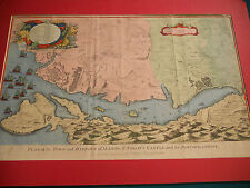 Antique 1745 Map The Town And Harbor Of Mahon St. Philip's Castle
