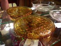 Art Deco - 1930's - Amber Depression Glass Cake Stand
