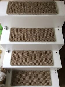 2 Premium Sisal Flat Weave carpet stair pads treads Natural 55cmx20cm