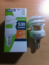 9w 46w SES E14 Small Screw In Energy Saver Spiral CFL Bulb Lamp Warm White x 2