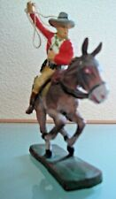 Soldat ancien en  composition ELASTOLIN COW BOY a cheval avec lasso 1950