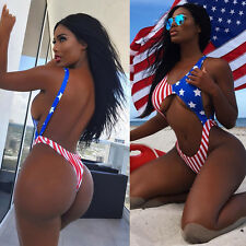 New american flag print one piece thong swimsuit swimwear Size UK 10