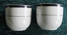 TWO Delta Air Lines Vintage First Class China Tea Cups Cobalt Blue Platinum