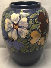 Elchinger et Cie France French Art Pottery Hand Made Vase Cobalt Flowers c1910
