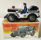 NOMURA (TN) JAPAN BATTERY OPERATED RADAR POLICE JEEP ~ WORKING ORDER ~ BOXED