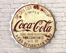COCA COLA COKE Vintage Retro 40cm Wall Sign Metal Bottle Top Mancave - FREE P+P