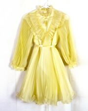 vtg 70s Merry Girl SHEER Yellow Frilly Ruffled Party Dress Belted MINTY girls 12