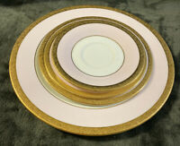 Mary Kay 40th Anniversary Pink & Gold 4 Piece Dinnerware Set (No Cup) EUC