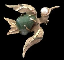 Vintage Signed BSK Genuine PEARL & JADE Bird in Flight Figural PIN/Brooch,FJT