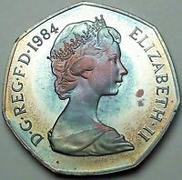 1984 GREAT BRITAIN 50 FIFTY PENCE PROOF UNC COLOR FLAWLESS GEM BU TONED (DR)