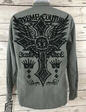 NWT Extreme Couture Small Gray Long Sleeve Shirt Black Velvet Embossed Mens S