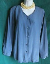DRESSBARN Blue Silk Tunic Top Sz M Button Up Blouse V-Neck Long Sleeve Career