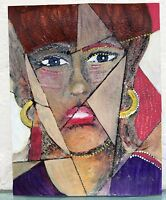 Vintage SIGNED Mid Century Modern CUBIST Abstract WOMAN FACE PORTRAIT Painting