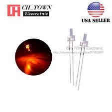 100pcs 2mm LED Diodes Water Clear Orange Light Flat Top Transparent USA
