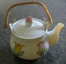 Vintage Tea Pot Tulip Time by Shafford 1979 Straw Handle Japan Holds 4 Cups Euc